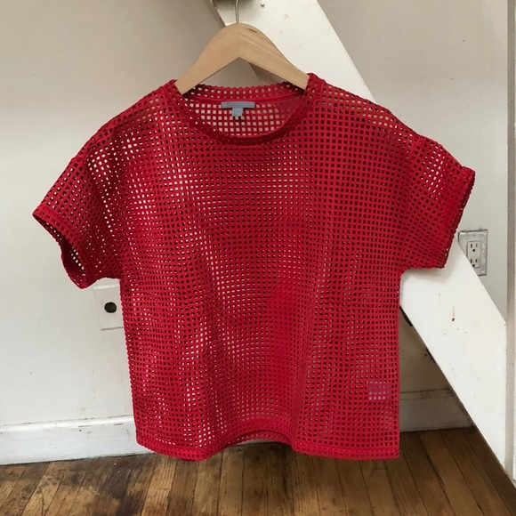 2ffd5a13925caa COS Tops - COS Mesh cut out check t-shirt top red small s